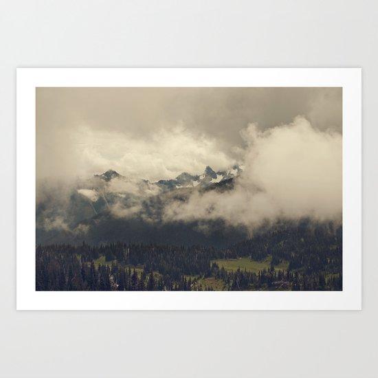 Mountains through the Fog Art Print
