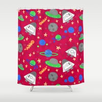 ships Shower Curtains featuring Space Ships by lindsey salles