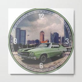 1970 Chevrolet Chevelle Decorative Wall Clock Metal Print