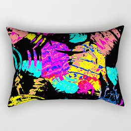 Colorful shapes on a black background Rectangular Pillow
