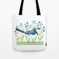 jay fleck Tote Bags featuring Blue Jay by Stephanie Fizer Coleman