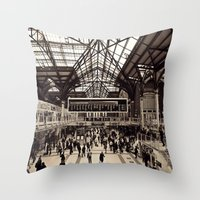 liverpool Throw Pillows featuring Liverpool Station by Roxana Lazăr