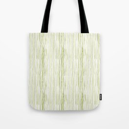 Olive Green Watercolor Stripes Tote Bag