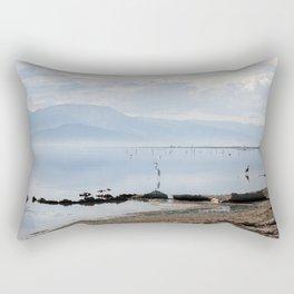 Salton Sea Lake Lanscape Coastal Beach with Sea Birds Colored Print Rectangular Pillow