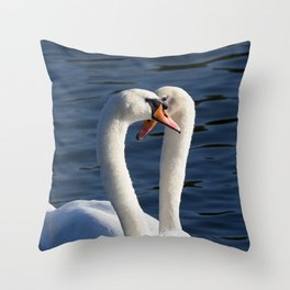 Courting Swans  Throw Pillow