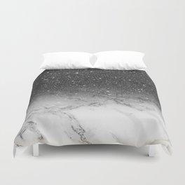 Stylish faux black glitter ombre white marble pattern Duvet Cover