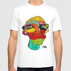 Double MEDIUM Mens Fitted Tee White