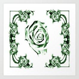 green damask rose Art Print