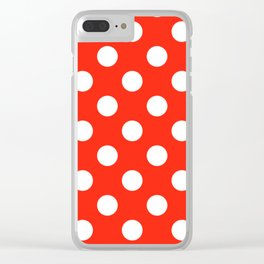 Red (RYB) - red - White Polka Dots - Pois Pattern Clear iPhone Case