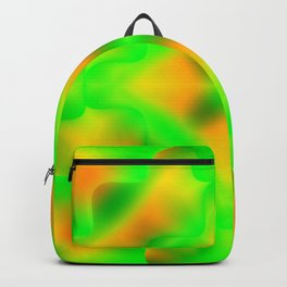 Bright pattern of blurry yellow and green flowers in a vintage kaleidoscope. Backpack