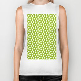 White Polka Dots on Fresh Spring Green - Mix & Match with Simplicty of life Biker Tank