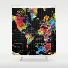 World Map Black - 1 Shower Curtain
