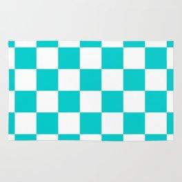 Checkered - White and Cyan Rug