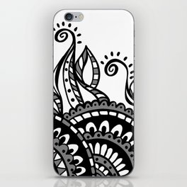 Leafy Lace Medallions - Black on White iPhone Skin