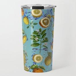 vintage lemons and oranges on ribbons of blue Travel Mug
