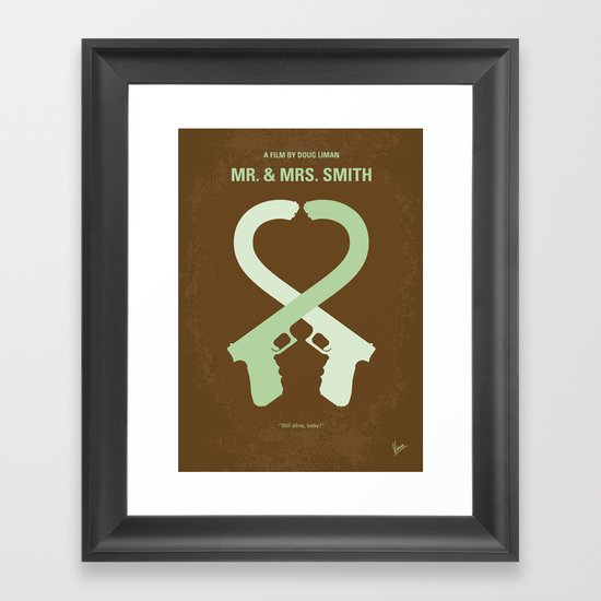No187 My Mr & Mrs. Smith minimal movie poster Framed Art Print