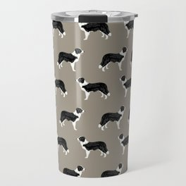 Border Collie dog pattern pet friendly dog art dog lover gifts with favorite dog breeds Travel Mug