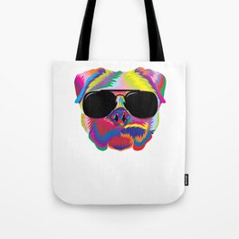 Psychedelic Pug Dog Face with Sunglasses Tote Bag