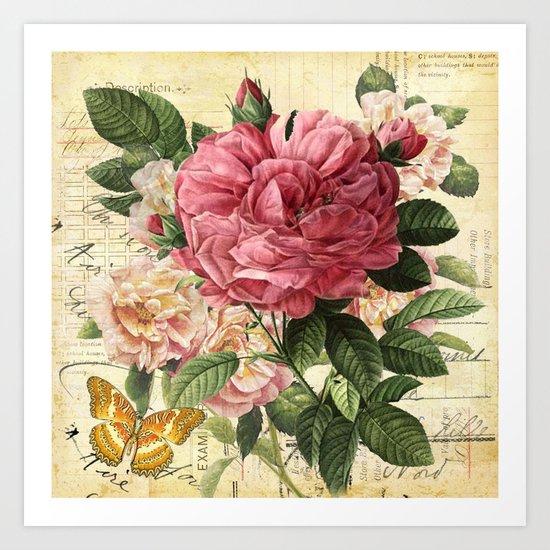 Vintage flowers #28 Art Print