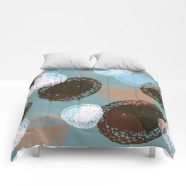 Graphic Seed Pods Turquoise and Brown Comforters