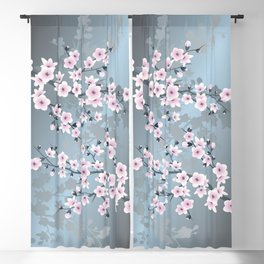 Dusky Pink Grayish Blue Cherry Blossom Blackout Curtain