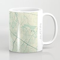 austin Mugs featuring Austin Map Blue Vintage by City Art Posters