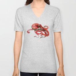 Octopus, Coral Reef, Sea world red design, red room design Unisex V-Neck