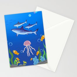 Shark Fishes Underwater Stationery Cards