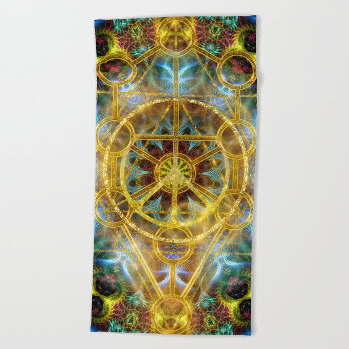 Sacred Geometry Fractal Mandala Beach Towel