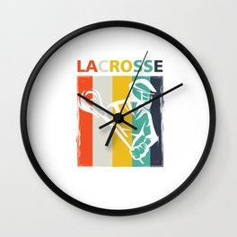 Retro Lacrosse Sports Team Player Lax Sticks Wall Clock