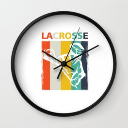 Retro Lacrosse Players Field Sports Team Lax Sticks Gifts Wall Clock