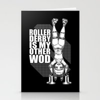 crossfit Stationery Cards featuring Roller Derby is My Other Wod Crossfit by RonkyTonk