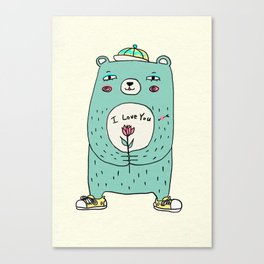 romantic bear Canvas Print