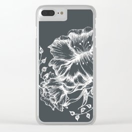 Three white inked flowers Clear iPhone Case