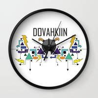 skyrim Wall Clocks featuring Skyrim: The Dovahkiin - BLUE by E_Nicholson