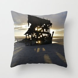 Wreck of the Peter Iredale at sunset Throw Pillow
