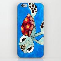 finding nemo iPhone & iPod Skins featuring Squirt From Finding Nemo by Jadie Miller