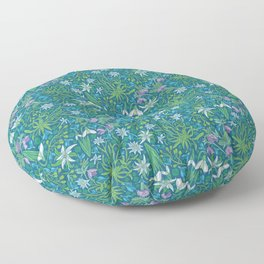 Edelweiss flowers with hellebore and snowdrops on blue background Floor Pillow