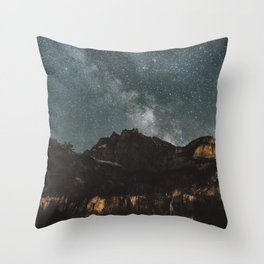 Space Night Mountains - Landscape Photography Throw Pillow