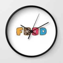 """Great Baking Design For Bakers T-shirt Design """"Food"""" Fork Knife Cherry Icing Cake Dessert Buttons Wall Clock"""