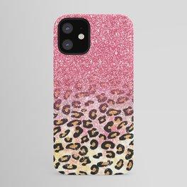 Cute girly trendy bubble gum pink faux glitter leopard animal print pattern iPhone Case