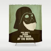 beard Shower Curtains featuring Beard Vader by Beardy Graphics