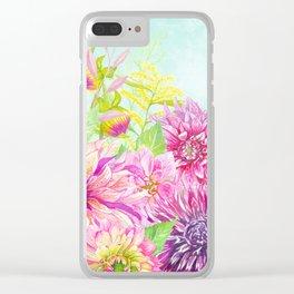 Summer Garden (Sweet Dahlias) Clear iPhone Case