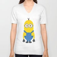 minion V-neck T-shirts featuring minion by fatimakhaled95