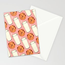 Milk & Cookies Pattern - Pink Stationery Cards