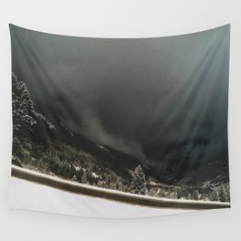 ominous snow storm in the valley Wall Tapestry