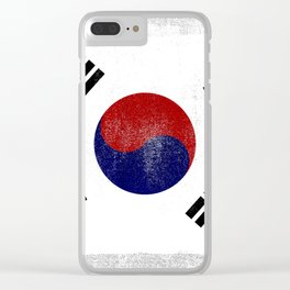 South Korean Distressed Halftone Denim Flag Clear iPhone Case