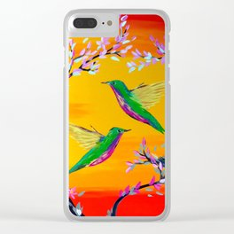 Yeloowlow and Orange with Hummingbirds Clear iPhone Case