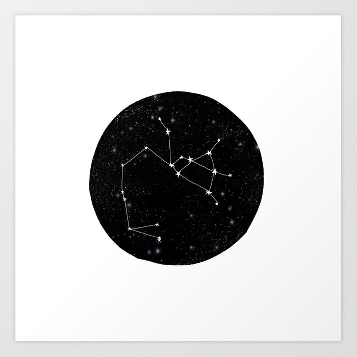 Sagittarius Constellation Zodiac Star Sign Black And White Minimal Art Print