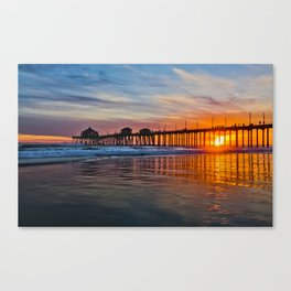 HB Sunsets - Sunset At The Huntington Beach Pier 3/10/16 Canvas Print